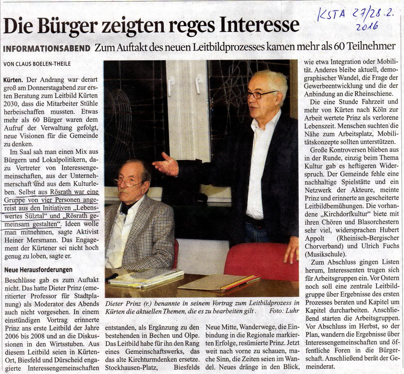 Auftaktveranstaltung in Kürten vom 25.02.2016
